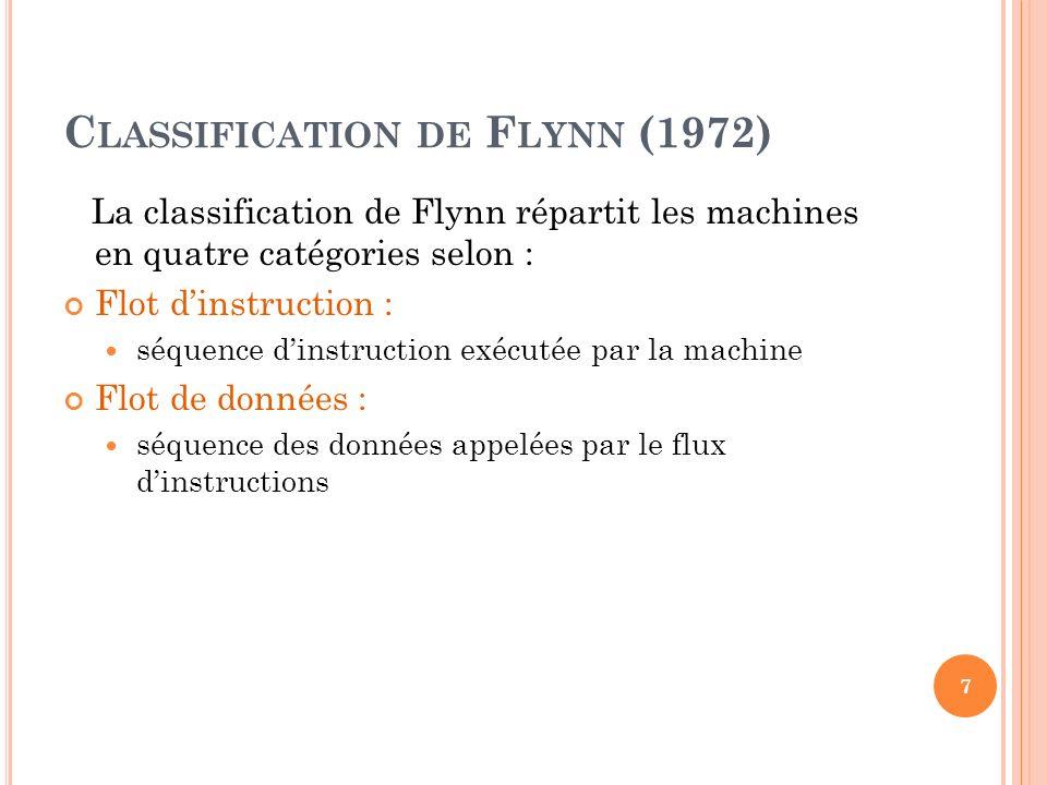 C LASSIFICATION DE F LYNN (1972) La classification de Flynn répartit les machines en quatre catégories selon : Flot dinstruction : séquence dinstructi