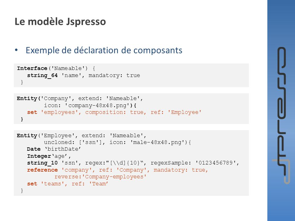 Le modèle Jspresso Exemple de déclaration de composants Interface('Nameable') { string_64 'name', mandatory: true } Entity('Company', extend: 'Nameabl