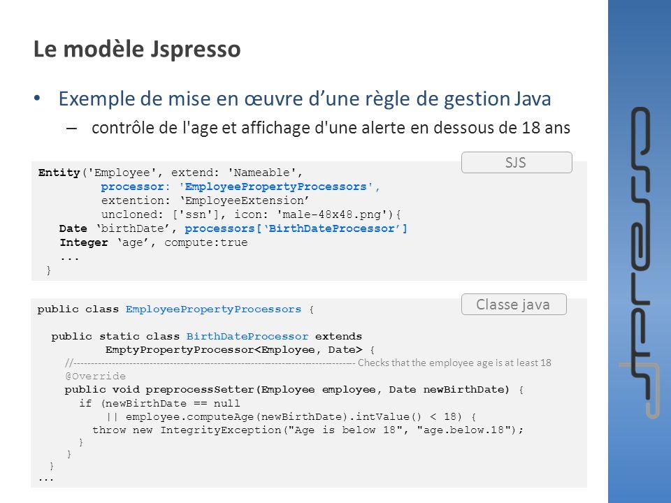 Le modèle Jspresso Exemple de mise en œuvre dune règle de gestion Java – contrôle de l'age et affichage d'une alerte en dessous de 18 ans Entity('Empl