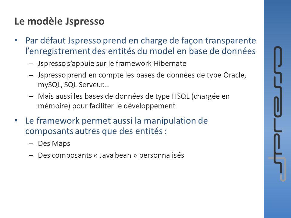 Le modèle Jspresso Par défaut Jspresso prend en charge de façon transparente lenregistrement des entités du model en base de données – Jspresso sappui