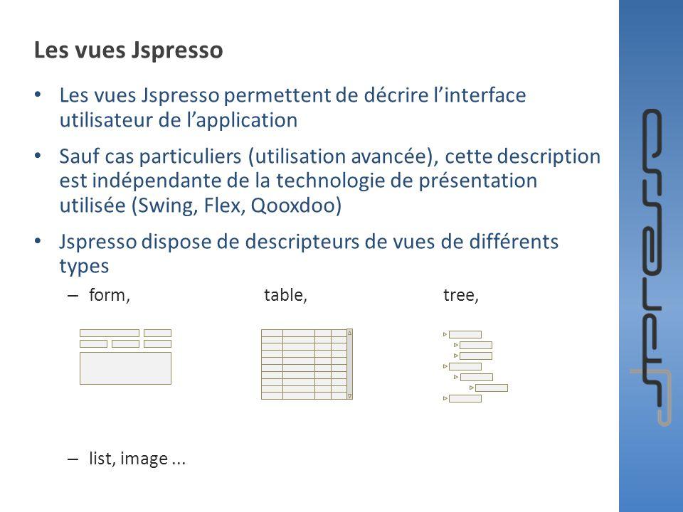 Les vues Jspresso Les vues Jspresso permettent de décrire linterface utilisateur de lapplication Sauf cas particuliers (utilisation avancée), cette de