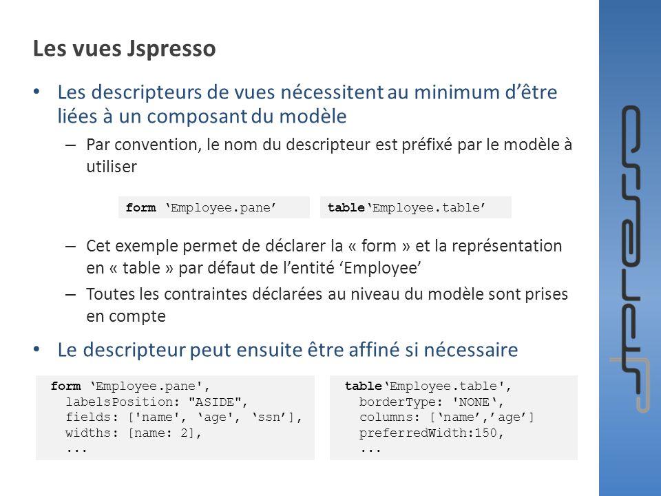 Les vues Jspresso Les descripteurs de vues nécessitent au minimum dêtre liées à un composant du modèle – Par convention, le nom du descripteur est pré