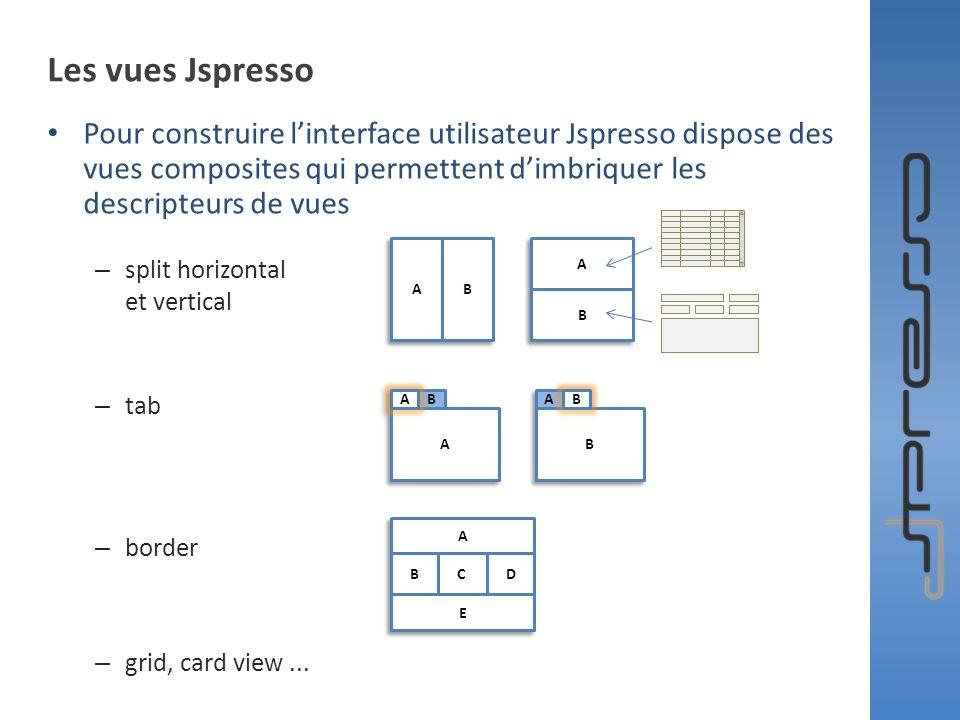 Les vues Jspresso Pour construire linterface utilisateur Jspresso dispose des vues composites qui permettent dimbriquer les descripteurs de vues – spl