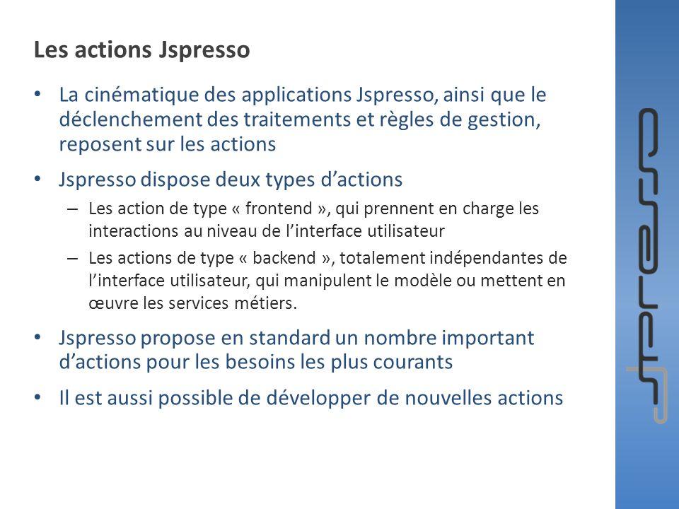 Les actions Jspresso La cinématique des applications Jspresso, ainsi que le déclenchement des traitements et règles de gestion, reposent sur les actio