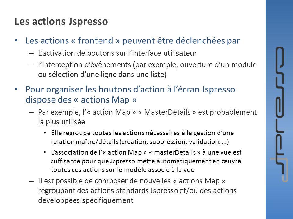 Les actions Jspresso Les actions « frontend » peuvent être déclenchées par – Lactivation de boutons sur linterface utilisateur – linterception dévénem