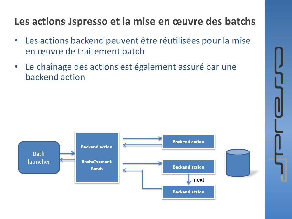 Les actions Jspresso et la mise en œuvre des batchs Les actions backend peuvent être réutilisées pour la mise en œuvre de traitement batch Le chaînage