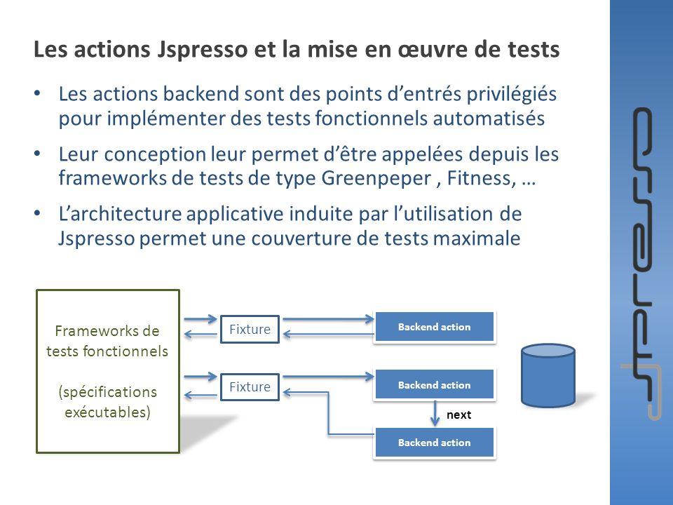 Les actions Jspresso et la mise en œuvre de tests Les actions backend sont des points dentrés privilégiés pour implémenter des tests fonctionnels auto