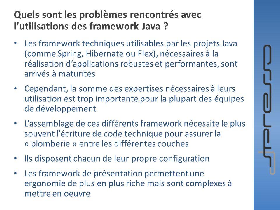 Quels sont les problèmes rencontrés avec lutilisations des framework Java ? Les framework techniques utilisables par les projets Java (comme Spring, H