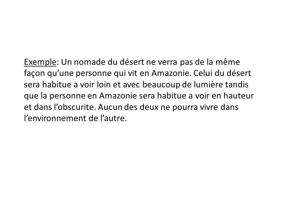 Exemple: Un nomade du désert ne verra pas de la même façon quune personne qui vit en Amazonie.