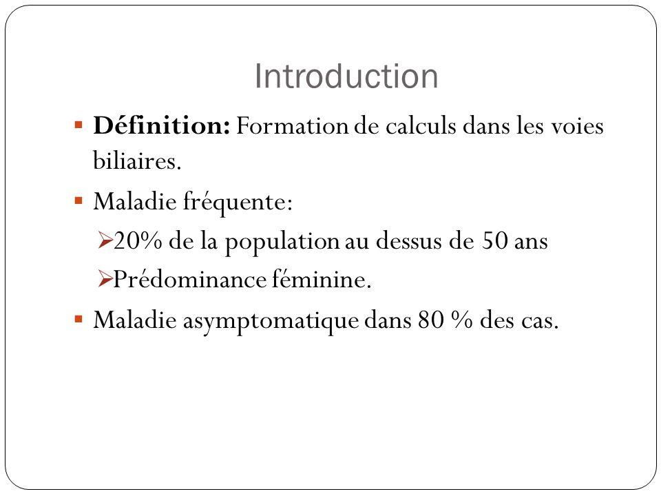 Introduction Définition: Formation de calculs dans les voies biliaires. Maladie fréquente: 20% de la population au dessus de 50 ans Prédominance fémin
