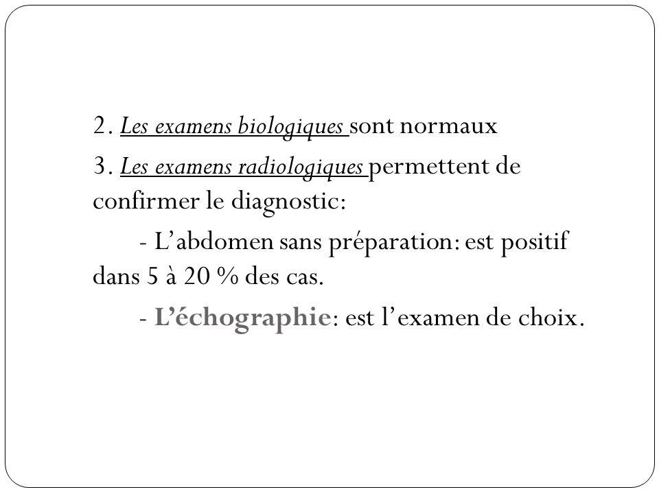 2.Les examens biologiques sont normaux 3.