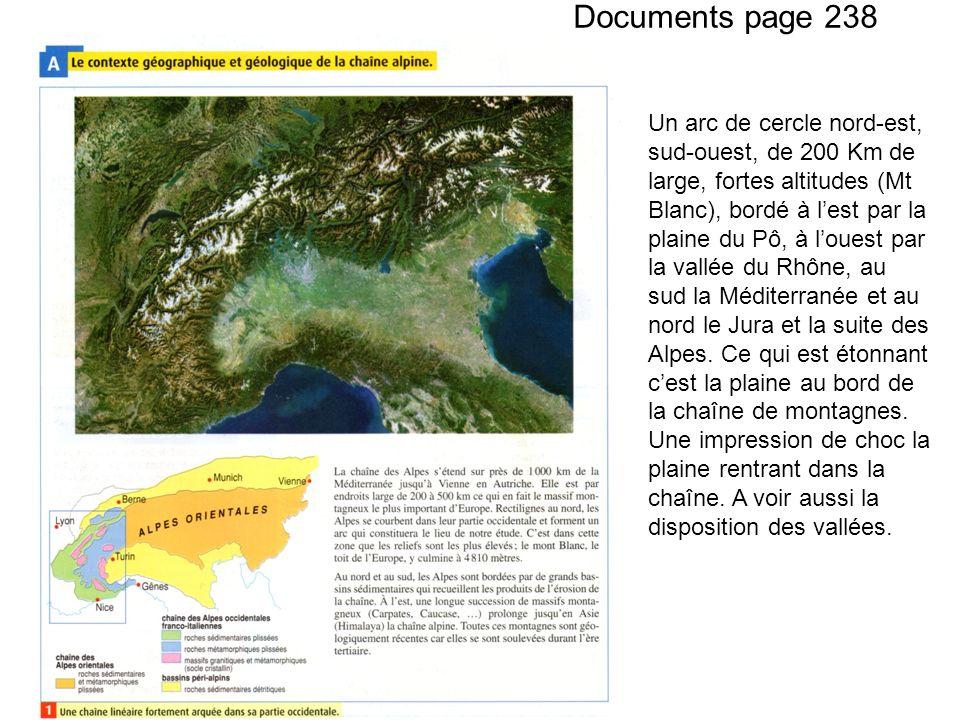Documents page 238 Un arc de cercle nord-est, sud-ouest, de 200 Km de large, fortes altitudes (Mt Blanc), bordé à lest par la plaine du Pô, à louest par la vallée du Rhône, au sud la Méditerranée et au nord le Jura et la suite des Alpes.