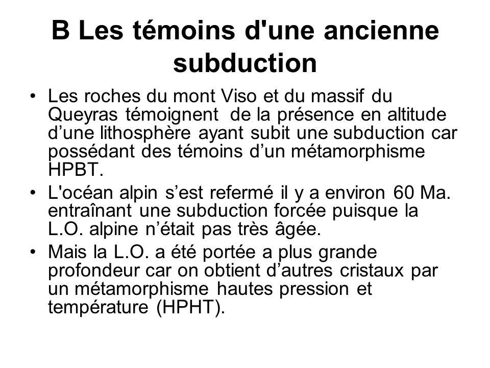 B Les témoins d une ancienne subduction Les roches du mont Viso et du massif du Queyras témoignent de la présence en altitude dune lithosphère ayant subit une subduction car possédant des témoins dun métamorphisme HPBT.