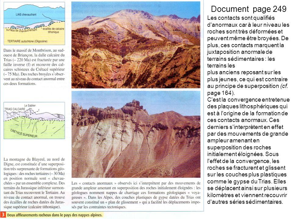 Document page 249 Les contacts sont qualifiés d anormaux car à leur niveau les roches sont très déformées et peuvent même être broyées.