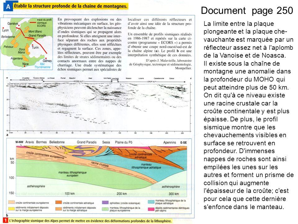 Document page 250 La limite entre la plaque plongeante et la plaque che vauchante est marquée par un réflecteur assez net à l aplomb de la Vanoise et de Noasca.