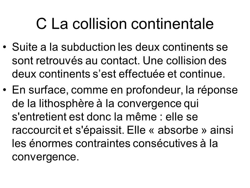 C La collision continentale Suite a la subduction les deux continents se sont retrouvés au contact.