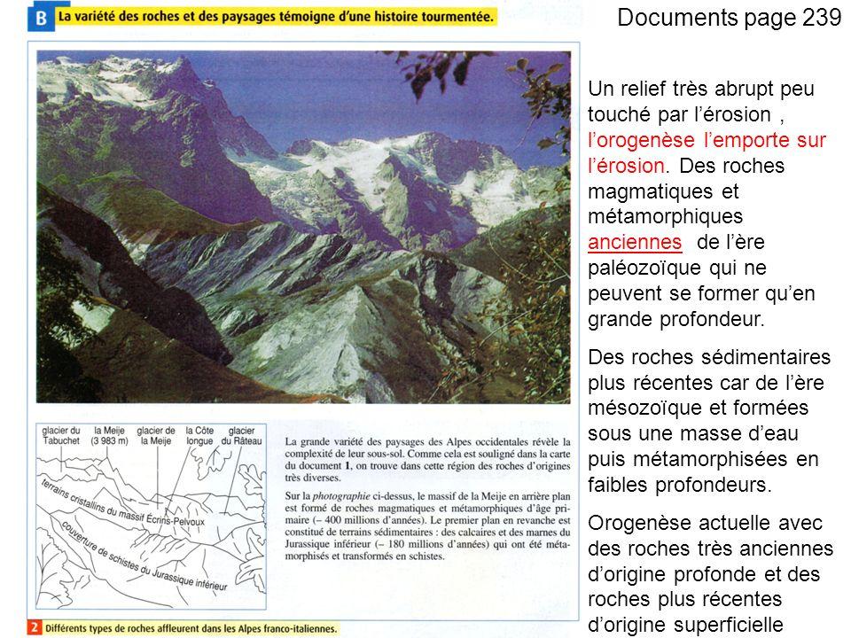 Documents page 239 Un relief très abrupt peu touché par lérosion, lorogenèse lemporte sur lérosion.