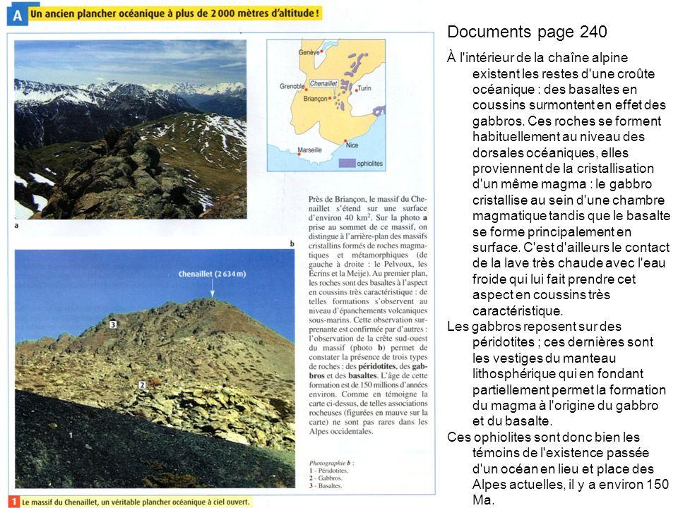 Documents page 240 À l intérieur de la chaîne alpine existent les restes d une croûte océanique : des basaltes en coussins surmontent en effet des gabbros.