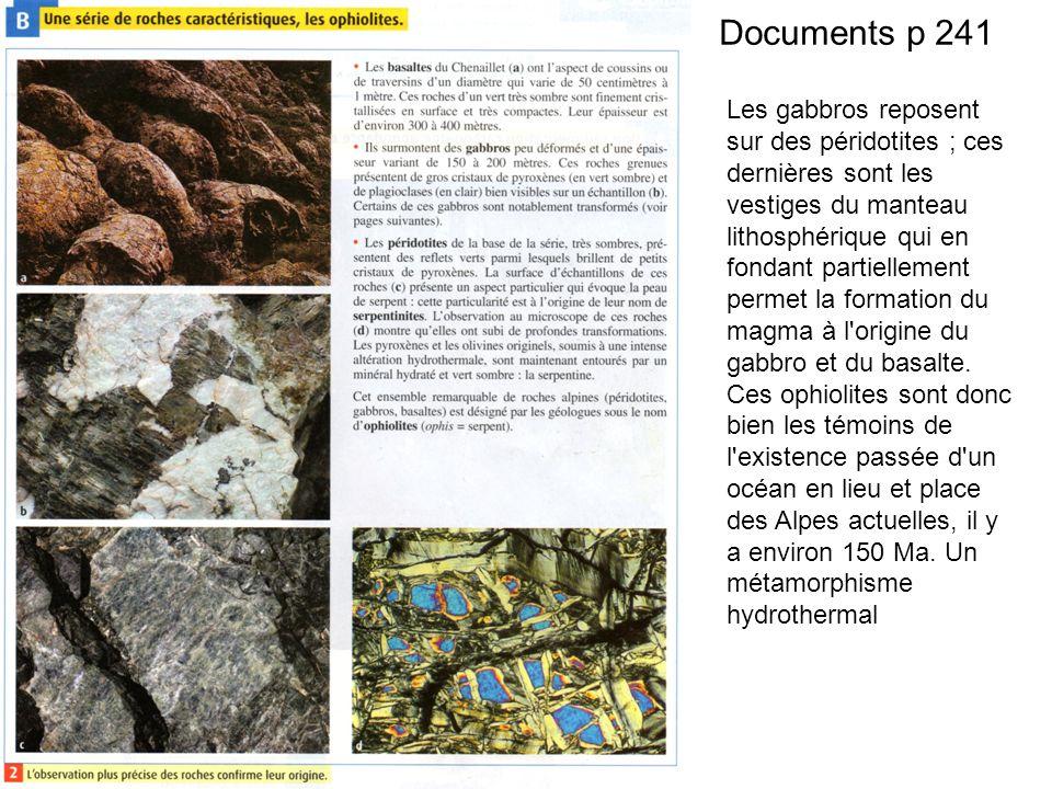 Documents p 241 Les gabbros reposent sur des péridotites ; ces dernières sont les vestiges du manteau lithosphérique qui en fondant partiellement permet la formation du magma à l origine du gabbro et du basalte.