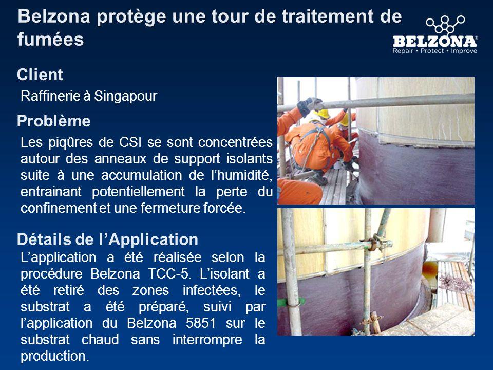 CLIENT Problème Détails de lApplication Belzona élimine les problèmes de CSI Raffinerie de pétrole, Royaume-Uni La cuve présentait de la corrosion sous isolation (CSI).