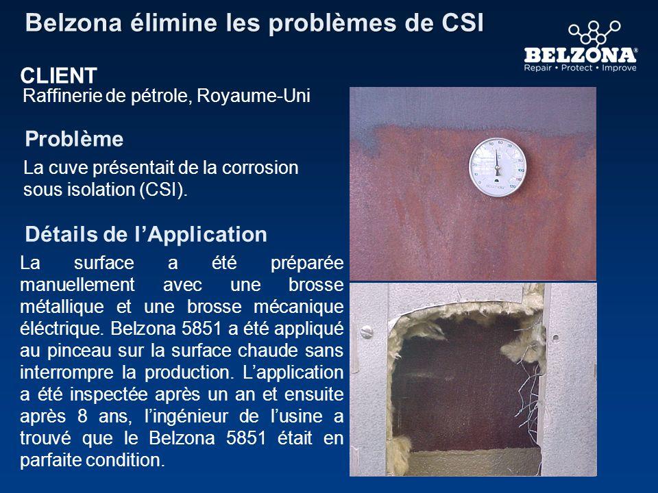 8 ans plus tard Belzona élimine les dommages de la CSI