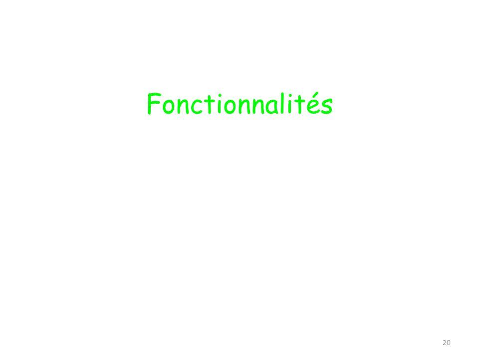 20 Fonctionnalités