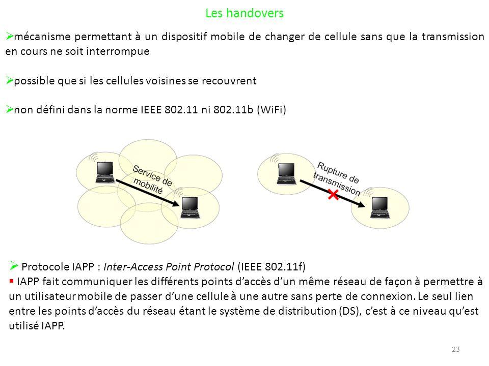 23 Les handovers mécanisme permettant à un dispositif mobile de changer de cellule sans que la transmission en cours ne soit interrompue possible que si les cellules voisines se recouvrent non défini dans la norme IEEE 802.11 ni 802.11b (WiFi) Protocole IAPP : Inter-Access Point Protocol (IEEE 802.11f) IAPP fait communiquer les différents points daccès dun même réseau de façon à permettre à un utilisateur mobile de passer dune cellule à une autre sans perte de connexion.