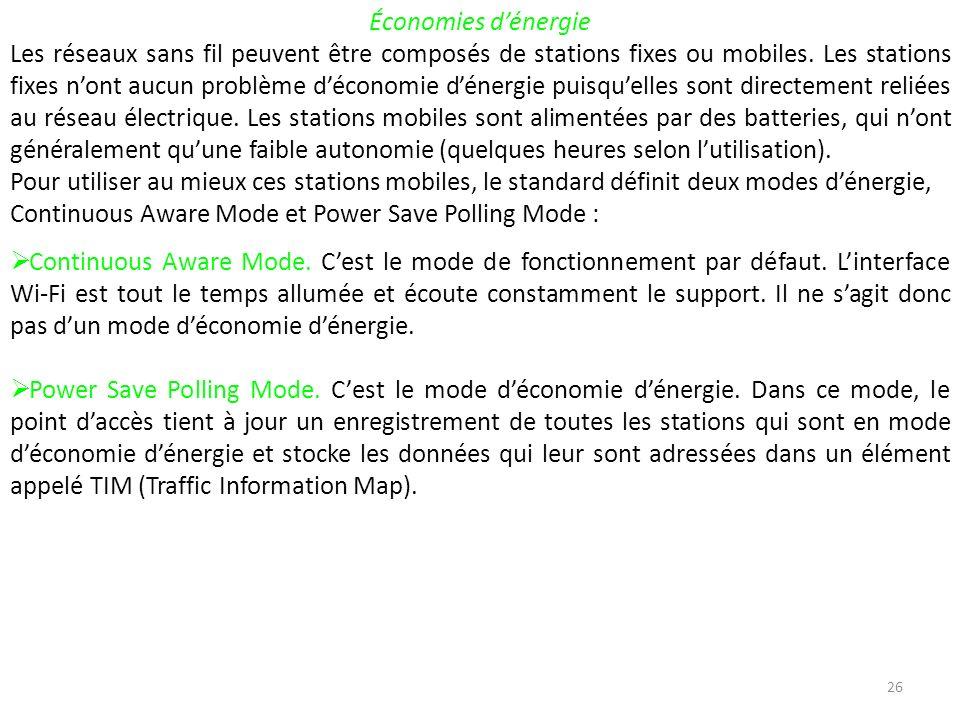 26 Économies dénergie Les réseaux sans fil peuvent être composés de stations fixes ou mobiles.