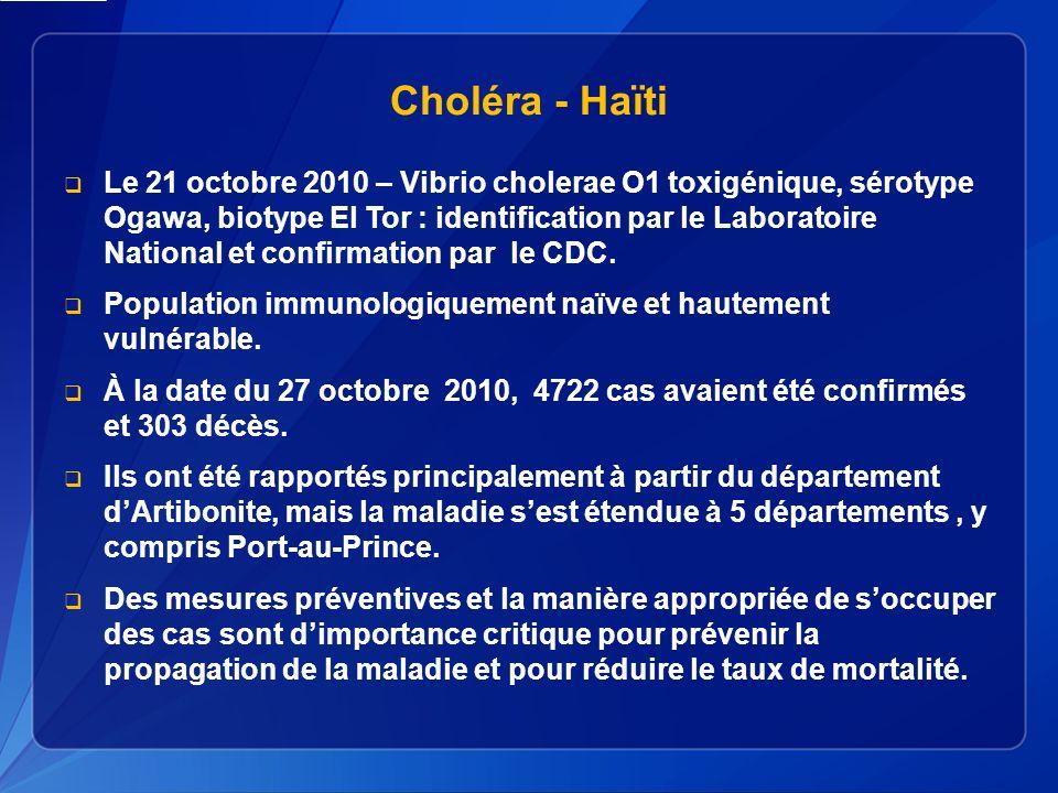 Choléra - Haïti Le 21 octobre 2010 – Vibrio cholerae O1 toxigénique, sérotype Ogawa, biotype El Tor : identification par le Laboratoire National et confirmation par le CDC.