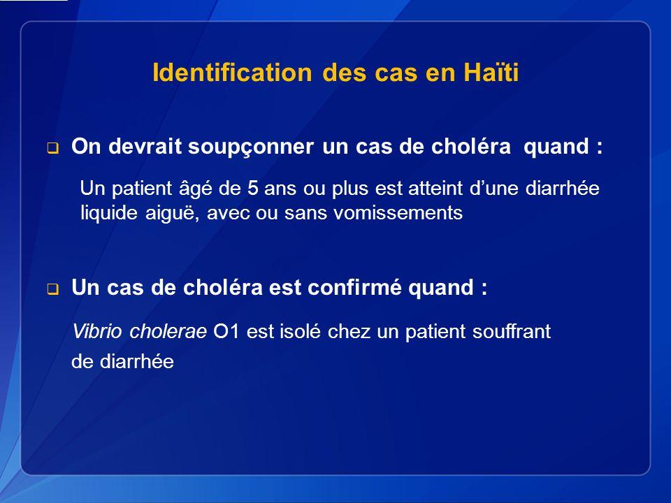 Identification des cas en Haïti On devrait soupçonner un cas de choléra quand : Un patient âgé de 5 ans ou plus est atteint dune diarrhée liquide aiguë, avec ou sans vomissements Un cas de choléra est confirmé quand : Vibrio cholerae O1 est isolé chez un patient souffrant de diarrhée