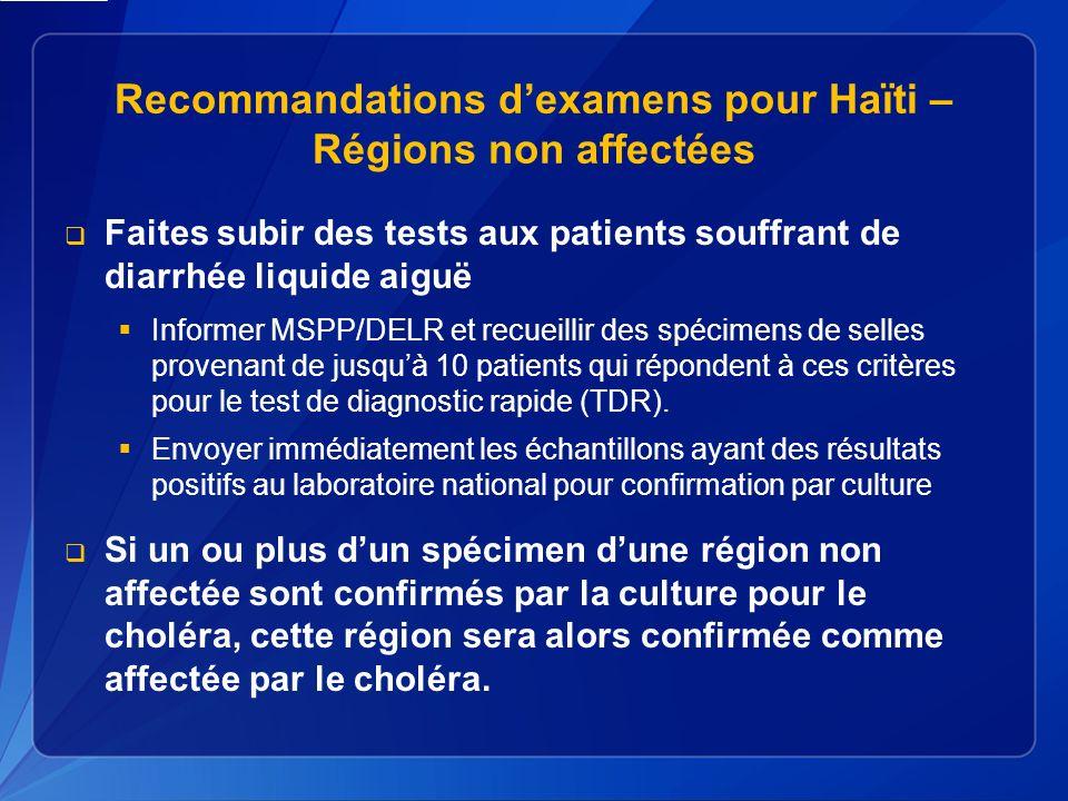 Recommandations dexamens pour Haïti – Régions non affectées Faites subir des tests aux patients souffrant de diarrhée liquide aiguë Informer MSPP/DELR et recueillir des spécimens de selles provenant de jusquà 10 patients qui répondent à ces critères pour le test de diagnostic rapide (TDR).