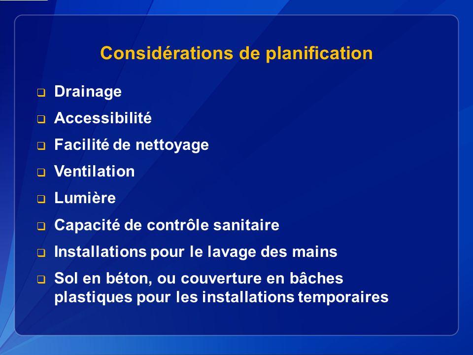 Considérations de planification Drainage Accessibilité Facilité de nettoyage Ventilation Lumière Capacité de contrôle sanitaire Installations pour le lavage des mains Sol en béton, ou couverture en bâches plastiques pour les installations temporaires