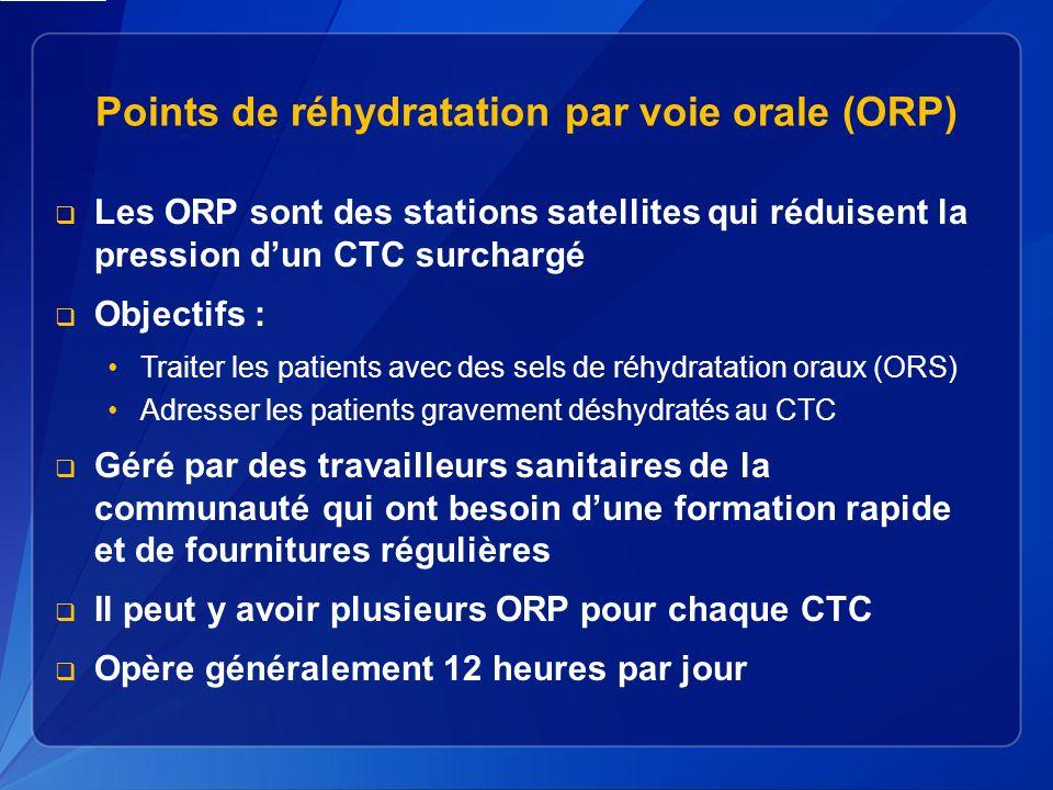 Points de réhydratation par voie orale (ORP) Les ORP sont des stations satellites qui réduisent la pression dun CTC surchargé Objectifs : Traiter les patients avec des sels de réhydratation oraux (ORS) Adresser les patients gravement déshydratés au CTC Géré par des travailleurs sanitaires de la communauté qui ont besoin dune formation rapide et de fournitures régulières Il peut y avoir plusieurs ORP pour chaque CTC Opère généralement 12 heures par jour