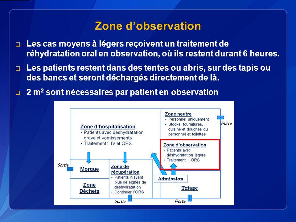 Zone dobservation Les cas moyens à légers reçoivent un traitement de réhydratation oral en observation, où ils restent durant 6 heures.