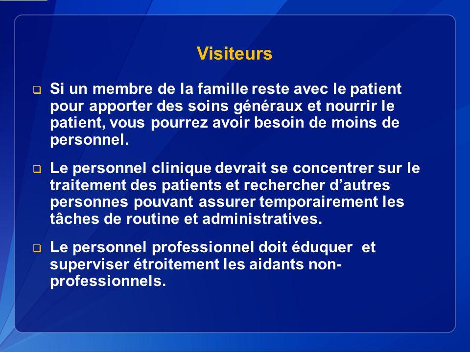 Visiteurs Si un membre de la famille reste avec le patient pour apporter des soins généraux et nourrir le patient, vous pourrez avoir besoin de moins de personnel.