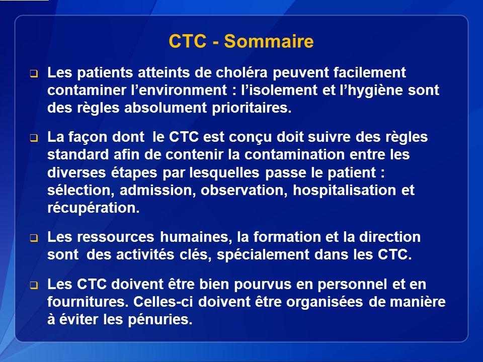 CTC - Sommaire Les patients atteints de choléra peuvent facilement contaminer lenvironment : lisolement et lhygiène sont des règles absolument prioritaires.