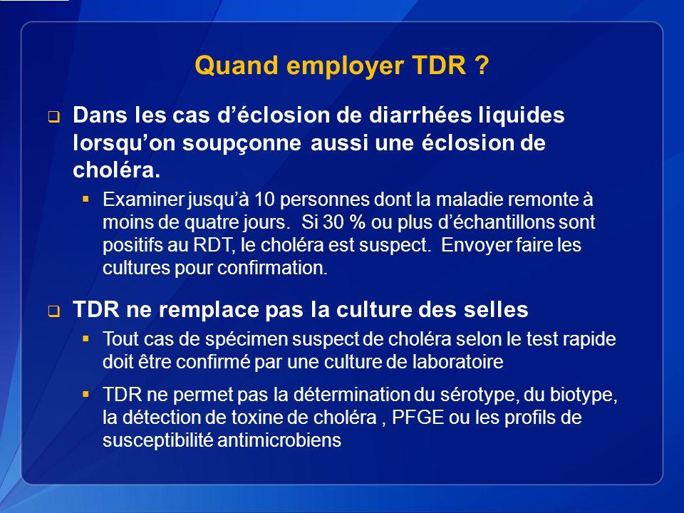 Quand employer TDR .