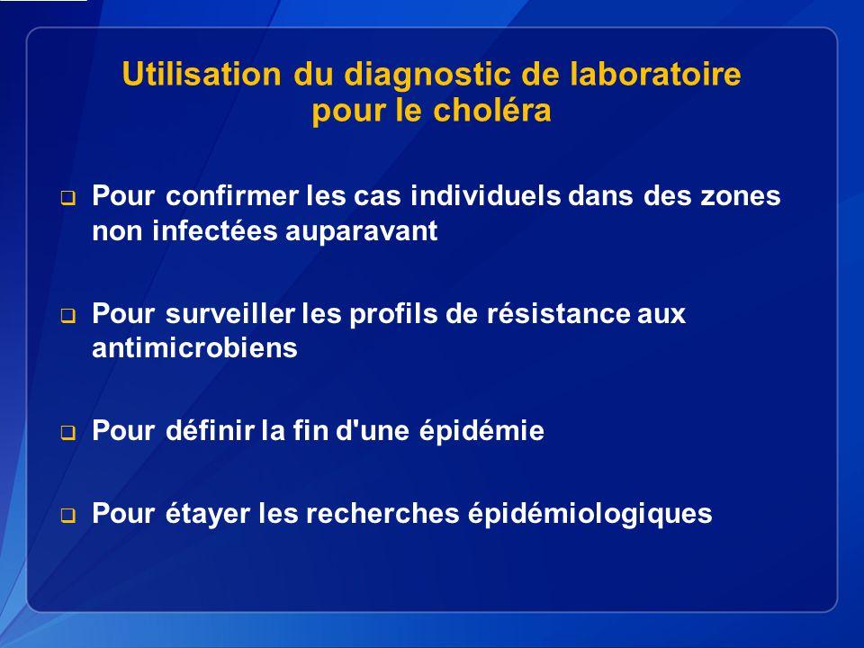 Utilisation du diagnostic de laboratoire pour le choléra Pour confirmer les cas individuels dans des zones non infectées auparavant Pour surveiller les profils de résistance aux antimicrobiens Pour définir la fin d une épidémie Pour étayer les recherches épidémiologiques