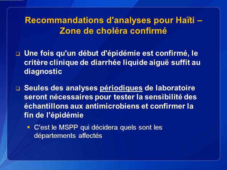Recommandations d analyses pour Haïti – Zone de choléra confirmé Une fois qu un début d épidémie est confirmé, le critère clinique de diarrhée liquide aiguë suffit au diagnostic Seules des analyses périodiques de laboratoire seront nécessaires pour tester la sensibilité des échantillons aux antimicrobiens et confirmer la fin de l épidémie C est le MSPP qui décidera quels sont les départements affectés