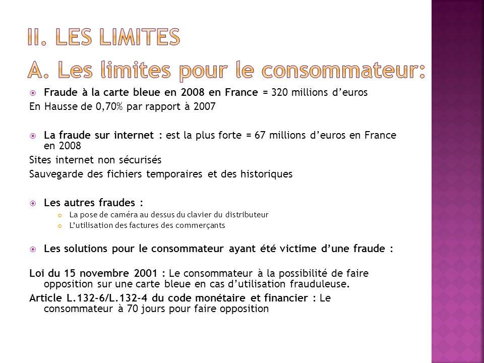 Fraude à la carte bleue en 2008 en France = 320 millions deuros En Hausse de 0,70% par rapport à 2007 La fraude sur internet : est la plus forte = 67