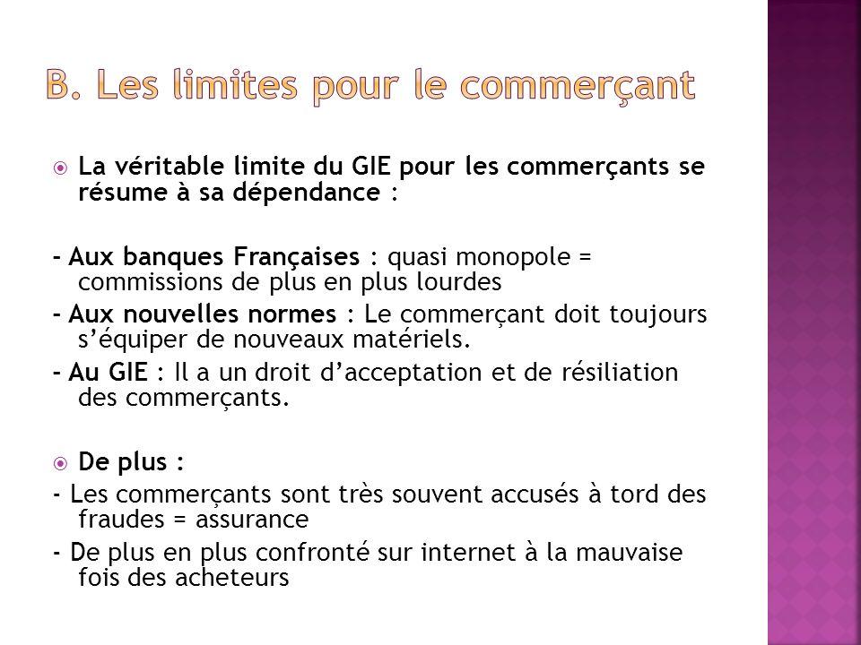 La véritable limite du GIE pour les commerçants se résume à sa dépendance : - Aux banques Françaises : quasi monopole = commissions de plus en plus lo