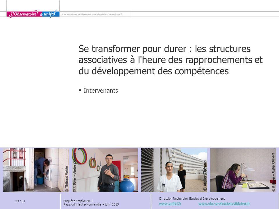 www.unifaf.fr www.obs-professionsolidaires.fr Direction Recherche, Etudes et Développement 33 / 51 Enquête Emploi 2012 Rapport Haute-Normandie – juin