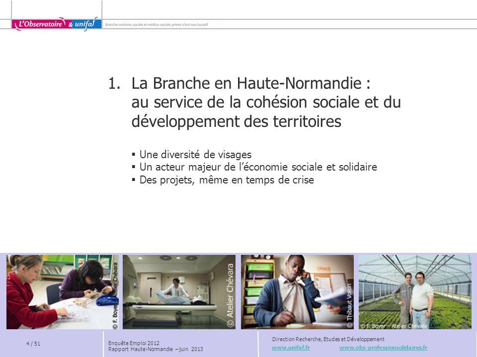 www.unifaf.fr www.obs-professionsolidaires.fr Direction Recherche, Etudes et Développement 4 / 51 Enquête Emploi 2012 Rapport Haute-Normandie – juin 2