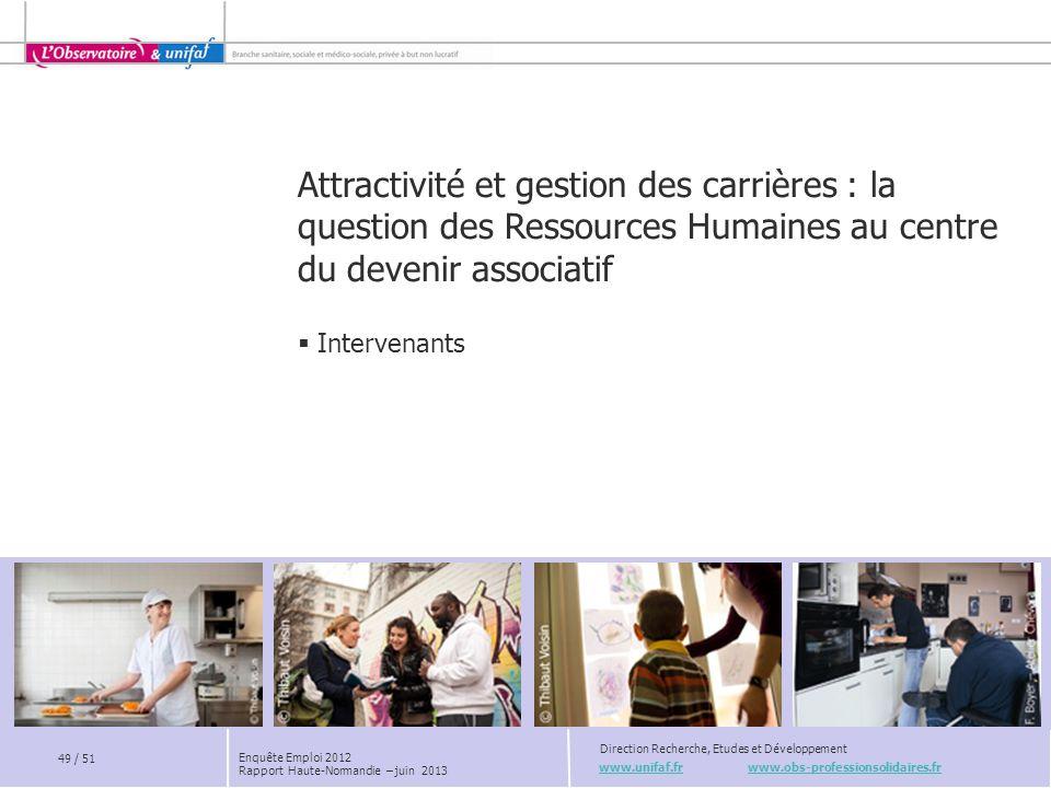 www.unifaf.fr www.obs-professionsolidaires.fr Direction Recherche, Etudes et Développement 49 / 51 Enquête Emploi 2012 Rapport Haute-Normandie – juin