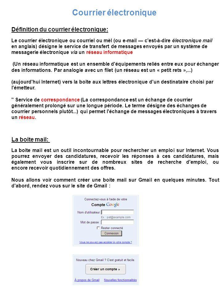 Courrier électronique Définition du courrier électronique: Le courrier électronique ou courriel ou mèl (ou e-mail c'est-à-dire électronique mail en an