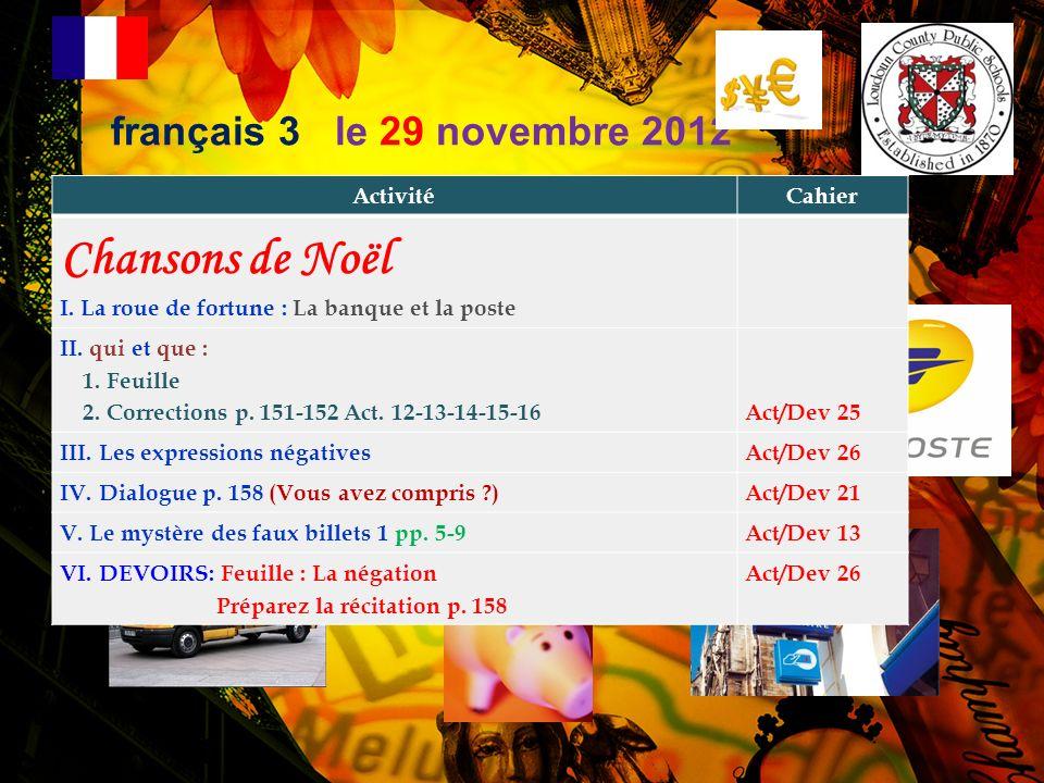 français 3 le 3 décembre 2012 ActivitéCahier Chansons de Noël EXPRESSION IDIOMATIQUE DU JOUR : Vouloir, cest pouvoir .