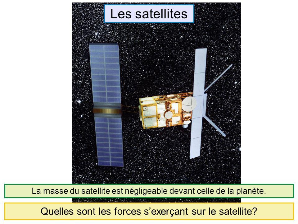 Les satellites Quelles sont les forces sexerçant sur le satellite? La masse du satellite est négligeable devant celle de la planète.