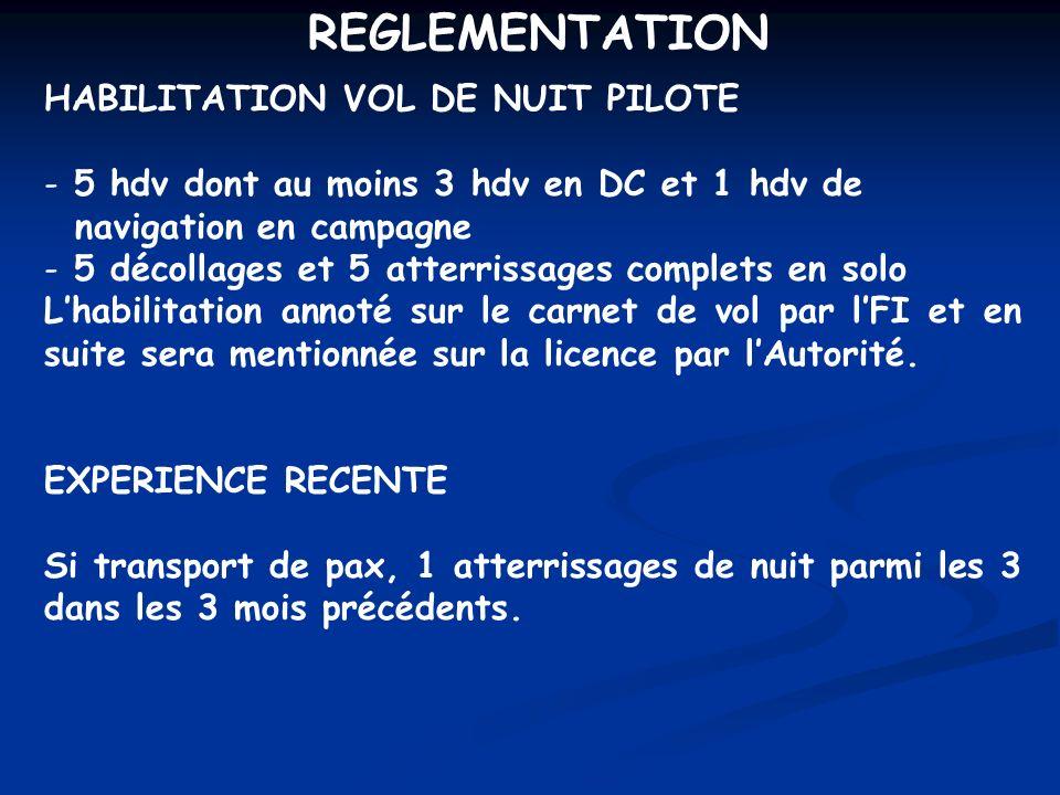REGLEMENTATION HABILITATION VOL DE NUIT PILOTE - 5 hdv dont au moins 3 hdv en DC et 1 hdv de navigation en campagne - 5 décollages et 5 atterrissages