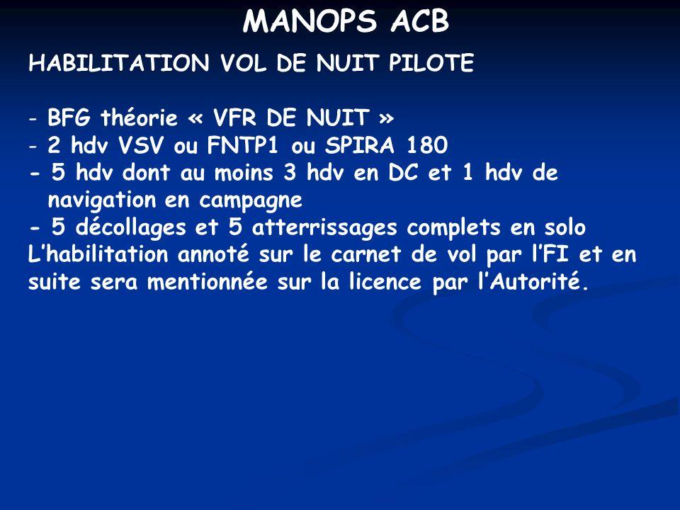 MANOPS ACB HABILITATION VOL DE NUIT PILOTE - BFG théorie « VFR DE NUIT » - 2 hdv VSV ou FNTP1 ou SPIRA 180 - 5 hdv dont au moins 3 hdv en DC et 1 hdv