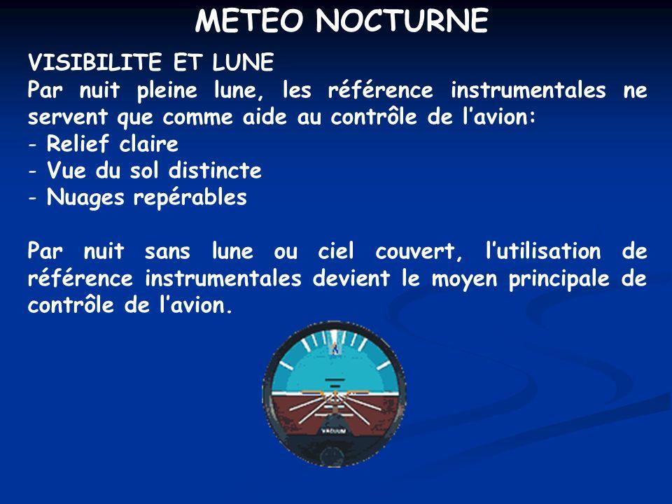 METEO NOCTURNE VISIBILITE ET LUNE Par nuit pleine lune, les référence instrumentales ne servent que comme aide au contrôle de lavion: - Relief claire